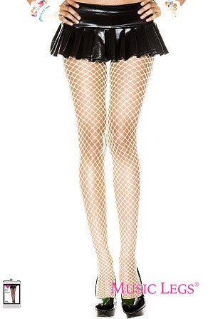 Music Legs Mini Diamond Net Spandex Pantyhose White 9030