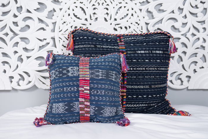 Ikat Cortes Huipil Pillow Cover Indigo Denim #1