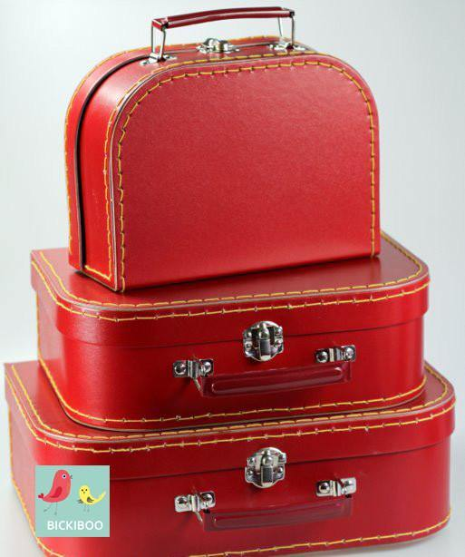 Red Mini Euro Suitcases - Set of 3 - Bickiboo Party Supplies