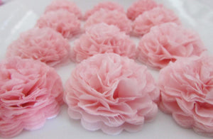 Baby Pink Button Mums Tissue Paper Flowers - Bickiboo Party Supplies
