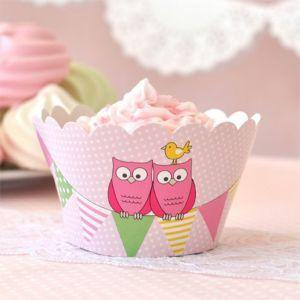 Owl Pink Dessert Party Plate - Bickiboo Party Supplies