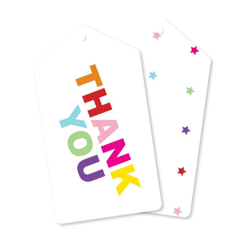 Rainbow Thank You Gift Tag - Pack of 10 - Bickiboo Party Supplies