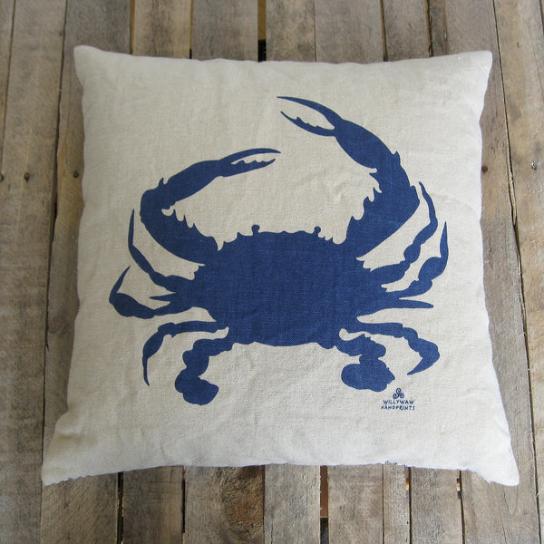 Crab Pillow, Navy, 20