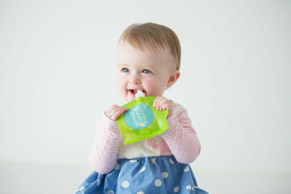 Enjoy homemade baby food without the mess with the Really Little Green Pouch reusable food pouch