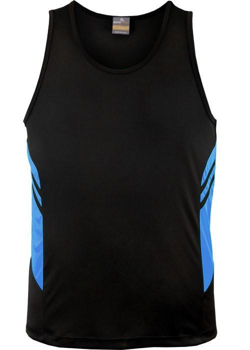 Aussie Pacific-Aussie Pacific Kids Tasman Singlets(1st 14 colors)-4 / Black/Cyan-Uniform Wholesalers - 3