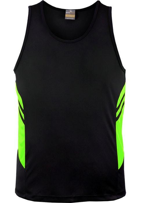Aussie Pacific-Aussie Pacific Kids Tasman Singlets(1st 14 colors)-4 / Black/Neon Green-Uniform Wholesalers - 4