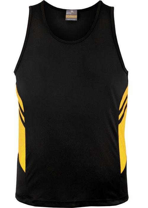 Aussie Pacific-Aussie Pacific Kids Tasman Singlets(1st 14 colors)-4 / Black/Gold-Uniform Wholesalers - 5