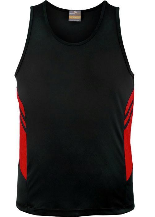 Aussie Pacific-Aussie Pacific Kids Tasman Singlets(1st 14 colors)-4 / Black/Red-Uniform Wholesalers - 6