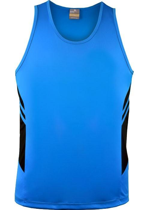 Aussie Pacific-Aussie Pacific Kids Tasman Singlets(1st 14 colors)-4 / Cyan/Black-Uniform Wholesalers - 9