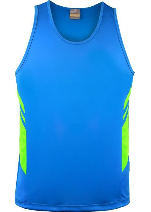 Aussie Pacific-Aussie Pacific Kids Tasman Singlets(1st 14 colors)-4 / Cyan/Neon Green-Uniform Wholesalers - 10