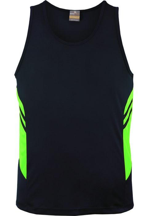Aussie Pacific-Aussie Pacific Kids Tasman Singlets(1st 14 colors)-4 / Navy/Neon Green-Uniform Wholesalers - 12