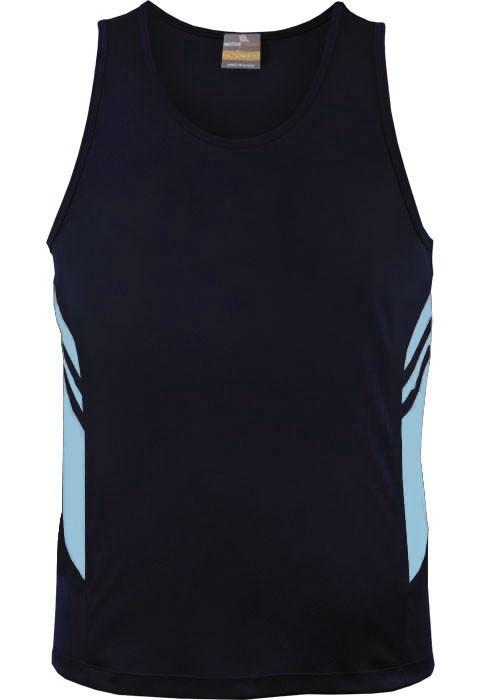 Aussie Pacific-Aussie Pacific Kids Tasman Singlets(1st 14 colors)-4 / Navy/Sky-Uniform Wholesalers - 14