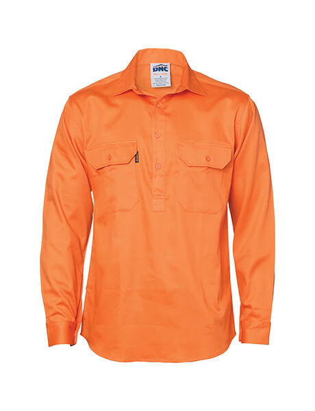 DNC Close Front L/S Cotton Drill Shirt with Gusset Sleeve (3204)
