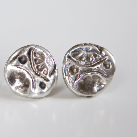 BUTTON IMPRINTED STUDS {silver}