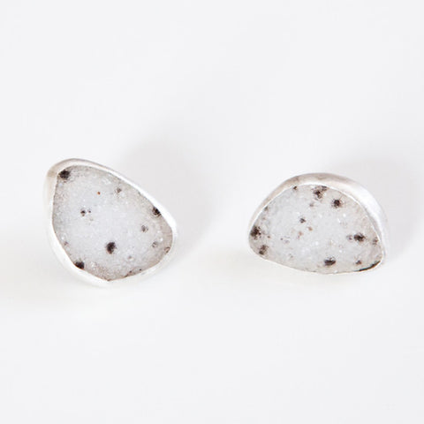 SALT & PEPPER DRUZY STUDS silver