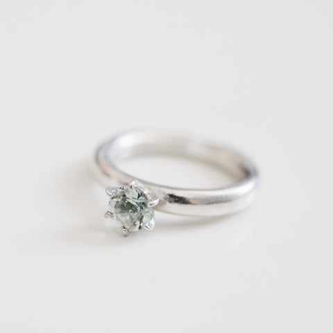 Green Amethyst Classic Ring in Sterling Silver