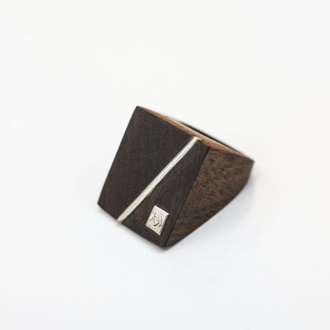 RECTANGULAR WALNUT WOOD RING {silver & wood}