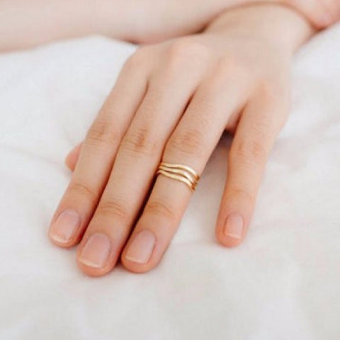 Gold Thin Diagonal Stacking Ring
