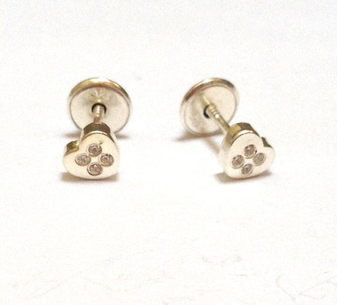 Sterling Silver Screw Back Earrings - Sparkle Heart