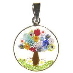 Millefiori Tree of Life Pendant (Small Pink)