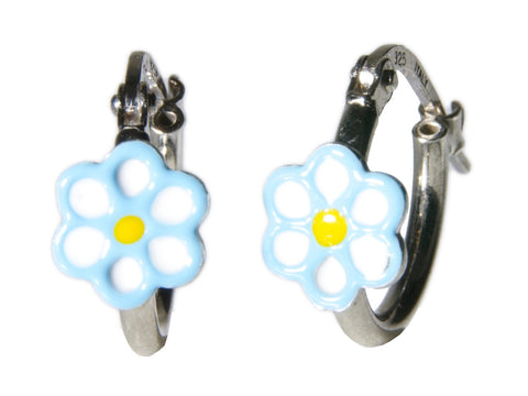 Light Blue Flower Sterling Silver Hoop Earrings