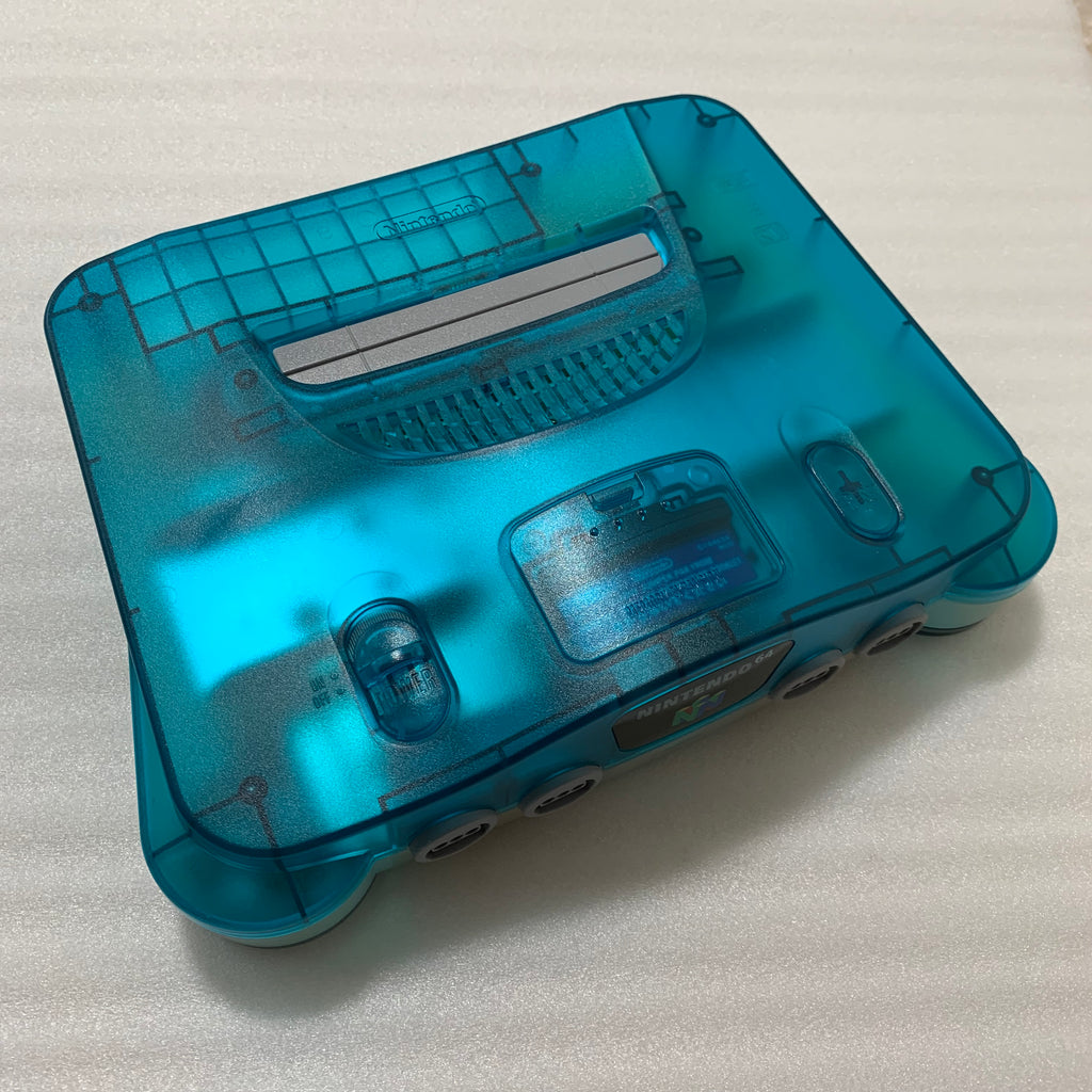 Clear blue Nintendo 64 in box set with ULTRA HDMI kit - compatible with JP and US games