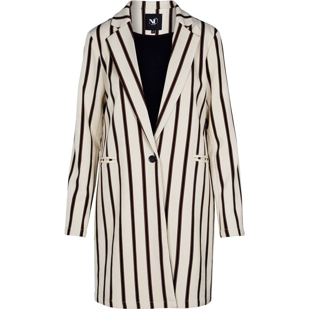 Striped Long Blazer in Nude