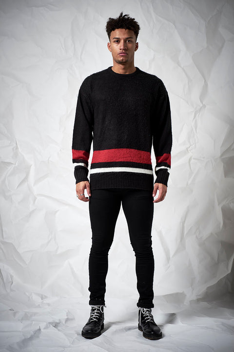 Crush Knit in Black, Red, and White
