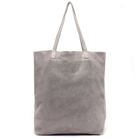 Orado Perforated Shimmer Tote Taupe