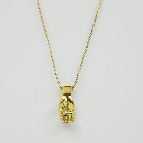 Brass Letter C Sign Language Necklace
