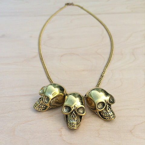 Three Skulls Brass Necklace