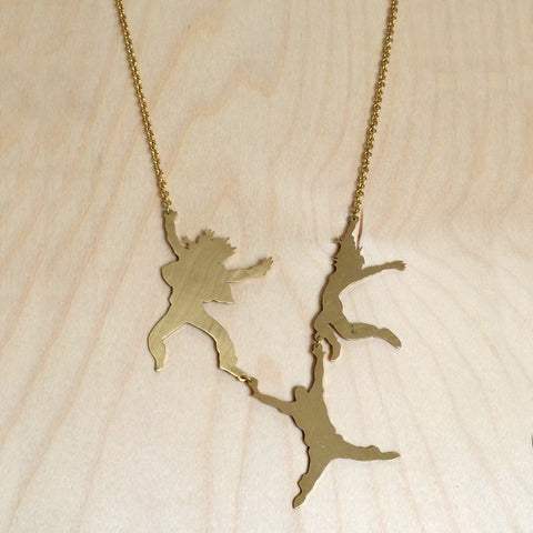 Three Dancers Brass Necklace