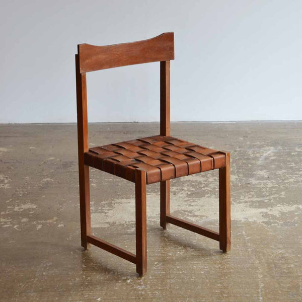 Single Woven Leather Side Chair