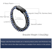 Mens Bead Leather Bracelet, Blue and Brown Bead and Leather Bracelet for Men - murtoo2