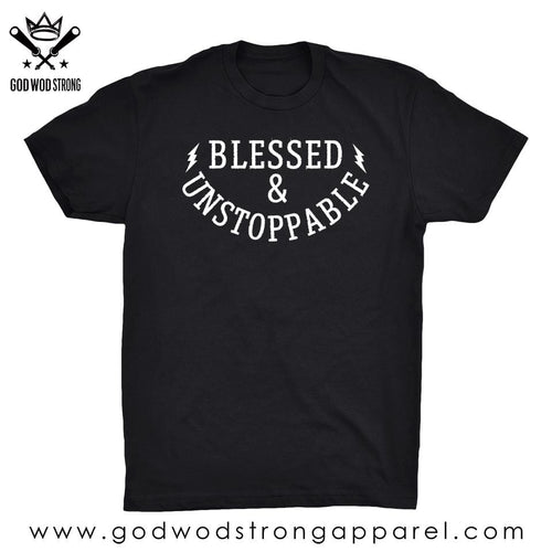 Blessed and unstoppable mens workout shirt