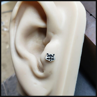 Metal Lotus Internally Threaded Labret Sterling Silver Raccoon Top with Steel Labret