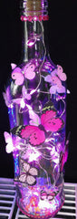 Bottle lights with stand out Butterflies (pink lights)