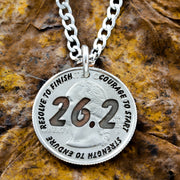 26.2 Marathon Necklace, Engraved Quarter, Running Gift