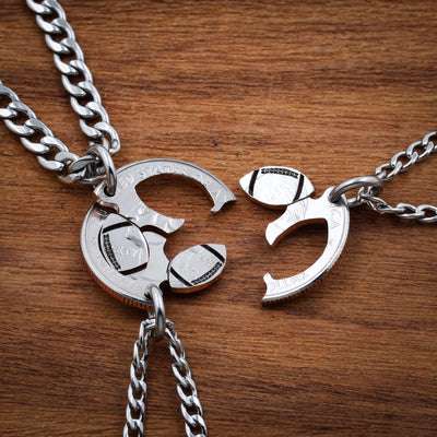 3 Piece Football Necklaces, Interlocking Hand Cut Coin