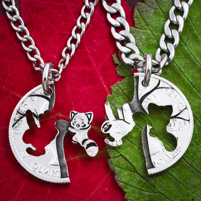 Sloth and Red Panda Friendship Necklaces