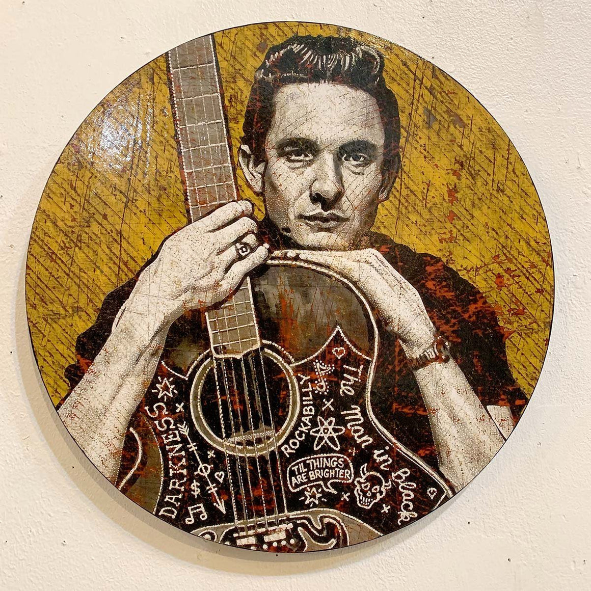 Cash - Man In Black - Round - Jon Langford - Yard Dog Art