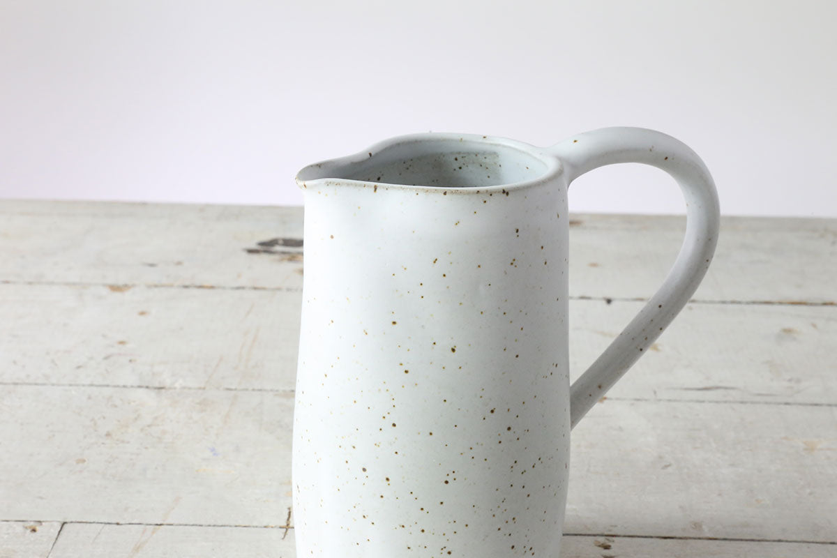 White Speckle Wide Pitcher #14