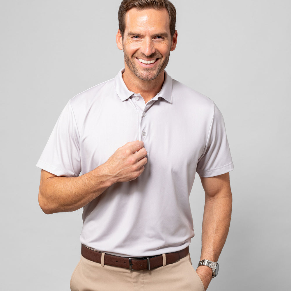 Phil Mickelson Golf Polo - White Gray Geo Print, lifestyle/model photo