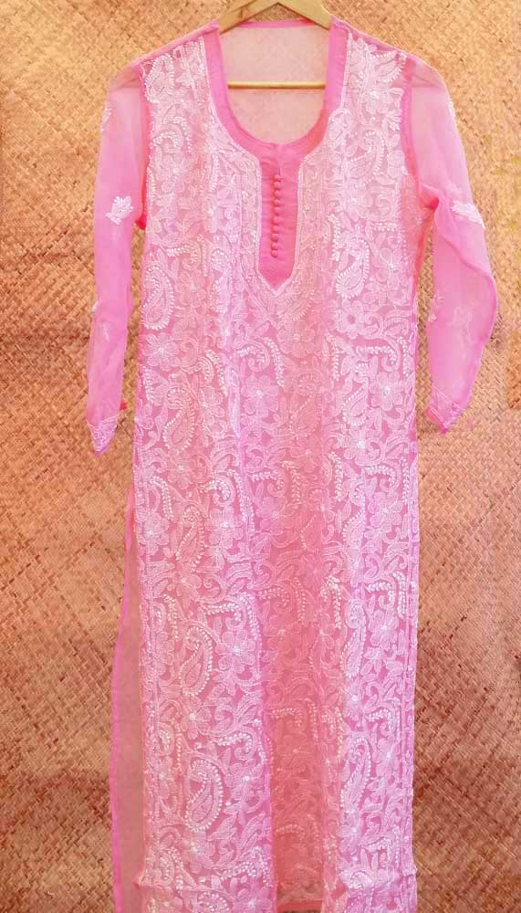 Elegant Georgette Long Kurta with Chikankari Size - 42