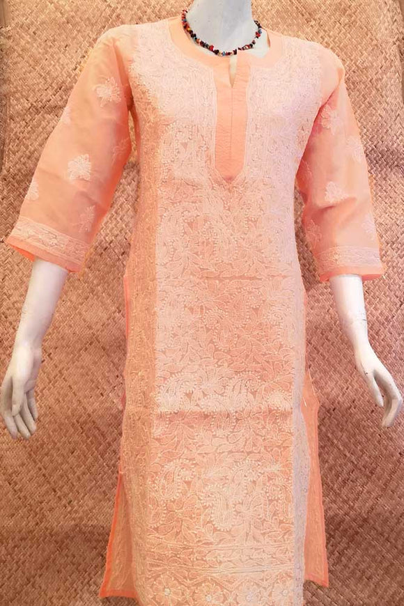 Elegant Voile Cotton Long Kurta with Chikankari Size - 38