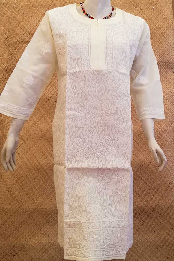 Elegant Voile Cotton Long Kurta with Chikankari Size - 44
