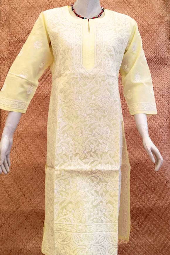 Elegant Voile Cotton Long Kurta with Chikankari Size - 40