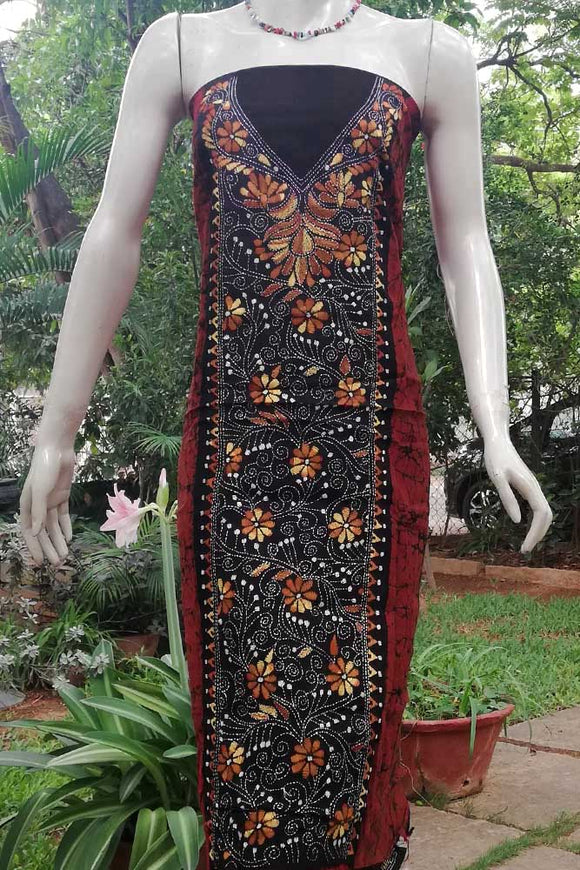 Hand Crafted Kantha work & Batik Kurta fabric