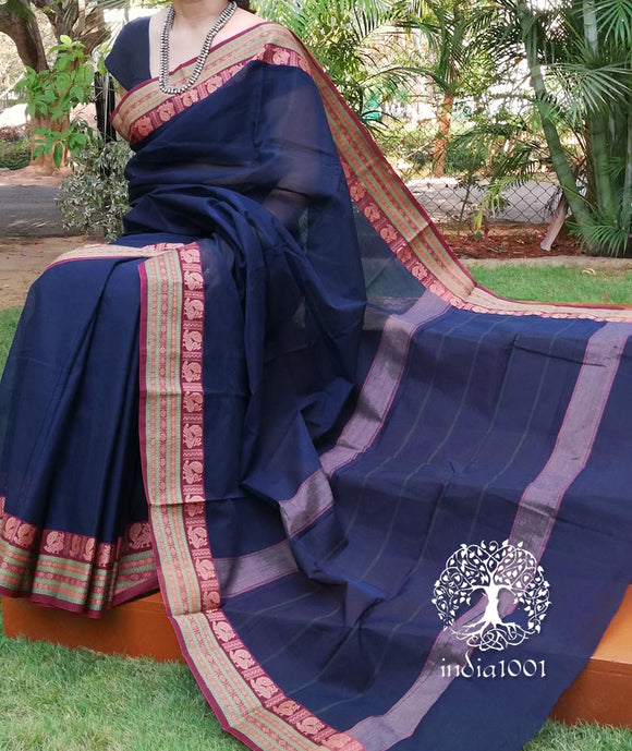 Elegant Chettinad Cotton Saree with Woven border