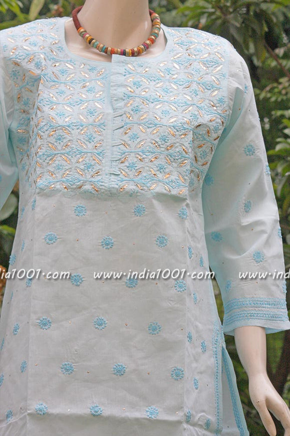 Designer Embroidered Chikankari Kurta  with muquaish- size 44